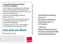 Postkarte Besoldungsrunde Bund 2016 - Textseite