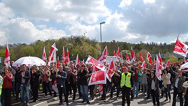 IBM-Protestaktion in Ehingen.