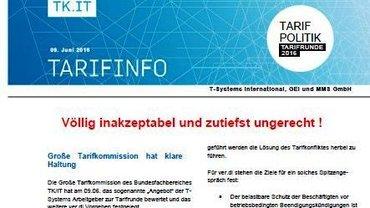 Tarifinfo 9 Tarifrunde T-Systems 2016 - Teaser