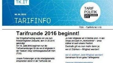 Tarifinfo 1 Tarifunde 2016 TSG - Teaser