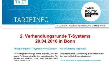 Tarifinfo 4 Tarifrunde T-Systems 2016 - Teaser