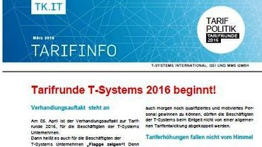 Tarifinfo 2 Tarifrunde T-Systems 2016 - Teaser