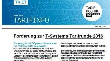 Tarifinfo 1 Tarifrunde T-Systems 2016 - Teaser