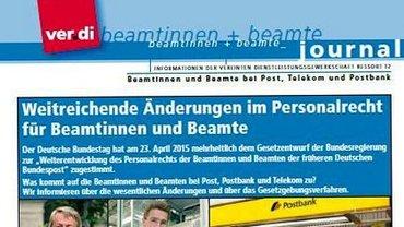 Journal für Beamtinnen und Beamte bei Post, Telekom und Postbank zum Personalrecht Frühjahr 2015 - Seite 1 - Teaser