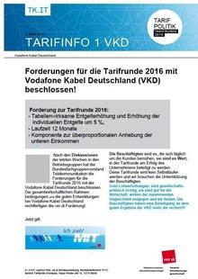 Tarifinfo 1 Tarifrunde 2016 vodafone Kabel Deutschland