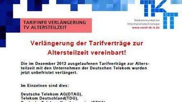 Tarifinfo Verlängerung TV ATZ 2013 - Kopf