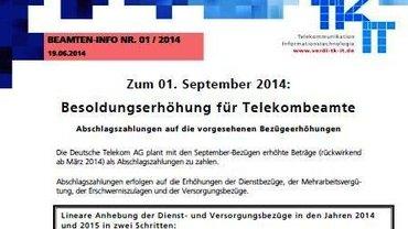 Beamten-Info 01/2014 - Besoldungserhöhung für Telekombeamte - Kopf