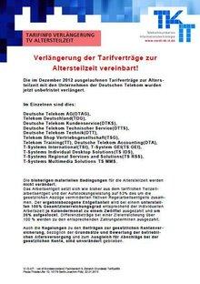 Tarifinfo Verlängerung TV ATZ 2013