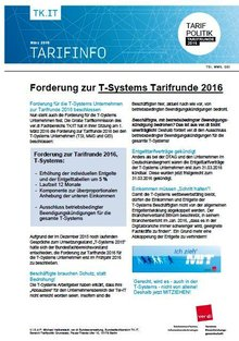Tarifinfo 1 Tarifrunde T-Systems 2016