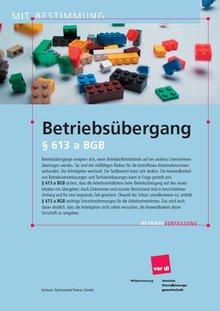 Broschüre Betriebsübergang nach § 613a BGB - Titelblatt