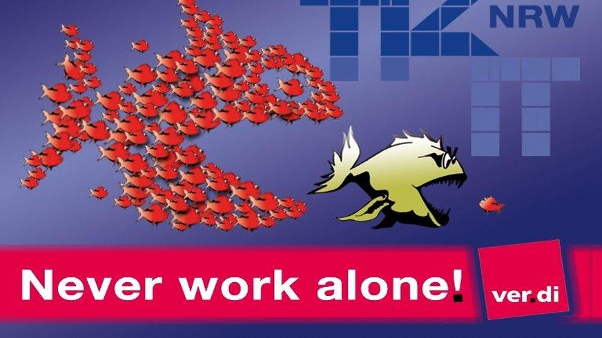 You never work alone - Logo für Bühne