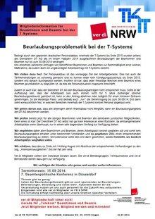 Info LFB 9 NRW Beurlaubung Beamte T-Systems