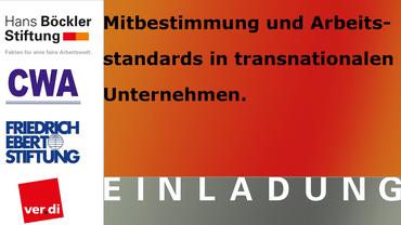 Werbebanner zur Tagung Mitbestimmung und Arbeitsstandards in transnationalenUnternehmen