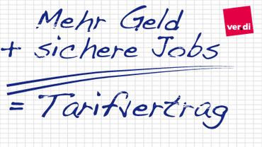 Rechnung: Mehr Geld + sichere Jobs = Tarifvertrag