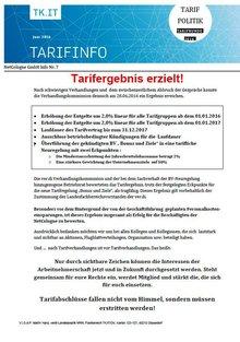 Tarifinfo 7 Tarifrunde NetCologne 2016
