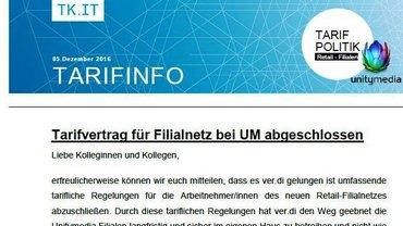 Tarifinfo Filialnetz Unitymedia - Teaser