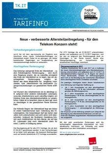 Tarifinfo 2 Altersteilzeit 2017 im Telekom-Konzern