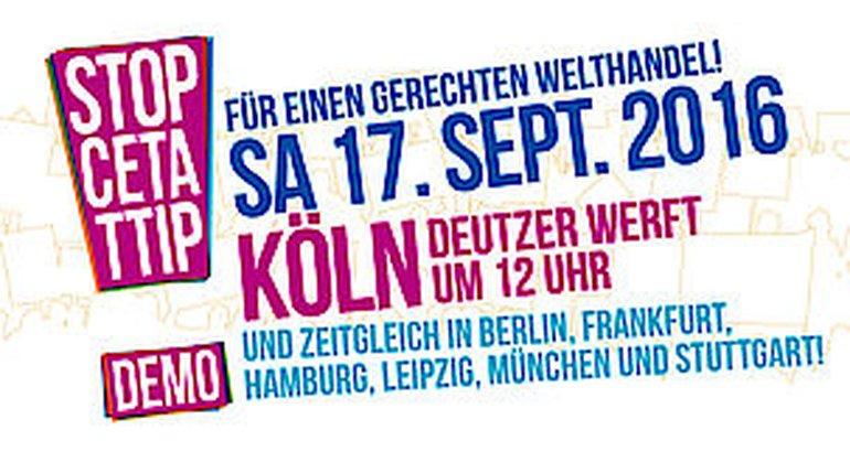TTIP Demo 17. September 2016 Köln - Webbanner
