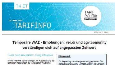Tarifinfo - Sonderinfo 2 - temporäre WAZ-Erhöhungen