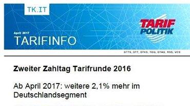 Tarifinfo 16 - Zweiter Zahltag Tarifrunde 2016