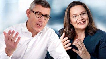 Telekom-Personalvorstand Illek und Arbeitsministerin Nales