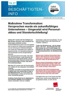 ver.di-Info Vodafone Kabel Deutschland - Transformation - Seite 1 von 2