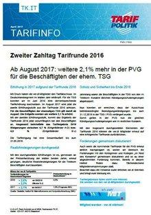 Tarifinfo Zweiter Zahltag Tarifrunde TSG 2016