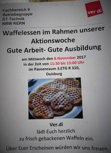 """Unsere Betriebsgruppe DT Technik NRW Kern lud, am 8. November im Telekom-Standort Saarstr. in Duisburg, im Rahmen der Aktionswoche """"Gute Arbeit - Gute Ausbildung"""", zu einem Waffelessen ein."""
