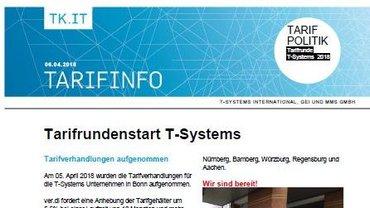Tarifinfo 2 Tarifrunde T-Systems 2018 - Teaser