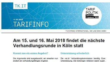 Tarifinfo 5 Tarifrunde T-Systems 2018 - Teaser