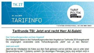 Tarifinfo 8 Tarifrunde T-Systems 2018 - Teaser