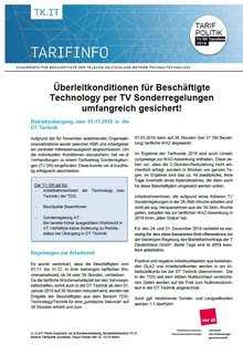 Tarifinfo TV SR BÜ Technology zur DT Technik - Seite 1