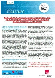 Tarifinfo 01/2018 MEDIA BROADCAST - Arbeitgeber plant Einführung einer 4-Tage-Woche