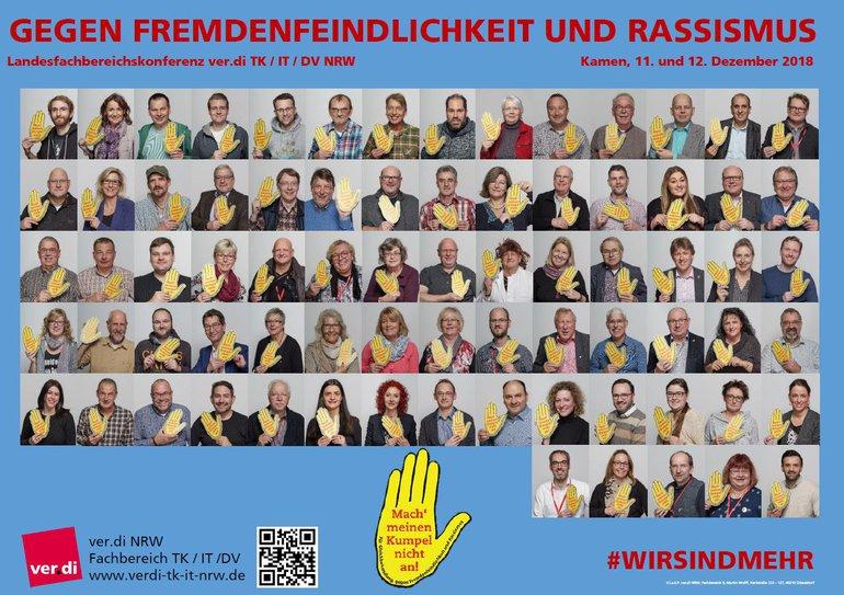 Plakat Landesfachbereichskonferenz 9 NRW - Gegen Fremdenfeindlichkeit und Rassismus