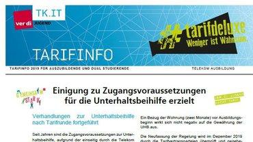 Tarifinfo Unterhaltsbeihilfe Azubis / Dual Studierende Telekom - Teaserformat