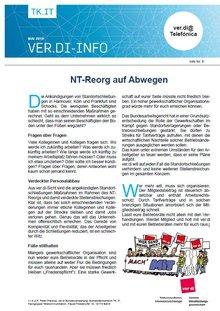 Flyer Reorganisation Telefónica NT auf Abwegen