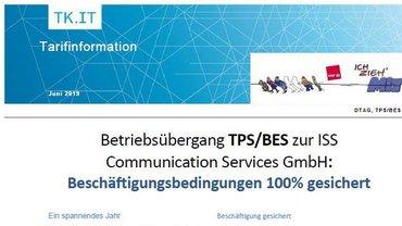 Tarifinfo Betriebsübergang TPS/BES zur ISS CS - Teaser