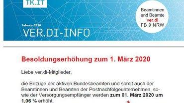 ver.di-Info Besoldungserhöhung März 2020 - Teaserformat