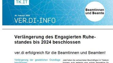 ver.di-Info Rechtsgrundlage Engagierter Ruhestand verlängert 2020-02-20 - Teaser