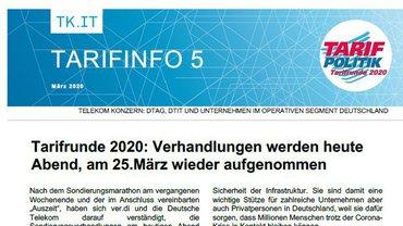 Tarifinfo 05 Telekom - Verhandlungen werden fortgesetzt - Teaserformat