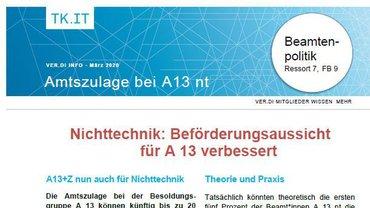 ver.di-Info Amtszulage bei A13 nt - Teaserformat