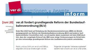 ver.di inform Juni 2020 - ver.di fordert grundlegende Reform der Bundeslaufbahnverordnung - Teaserformat