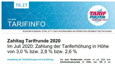Tarifinfo 9 Tarifrunde Telekom 2020 - Erster Zahltag - Teaserformat