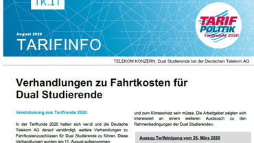 Tarifinfo 10 Tarifrunde Telekom 2020 - Verhandlungen Fahrtkosten Dual Studierende aufgenommen - Teaserformat