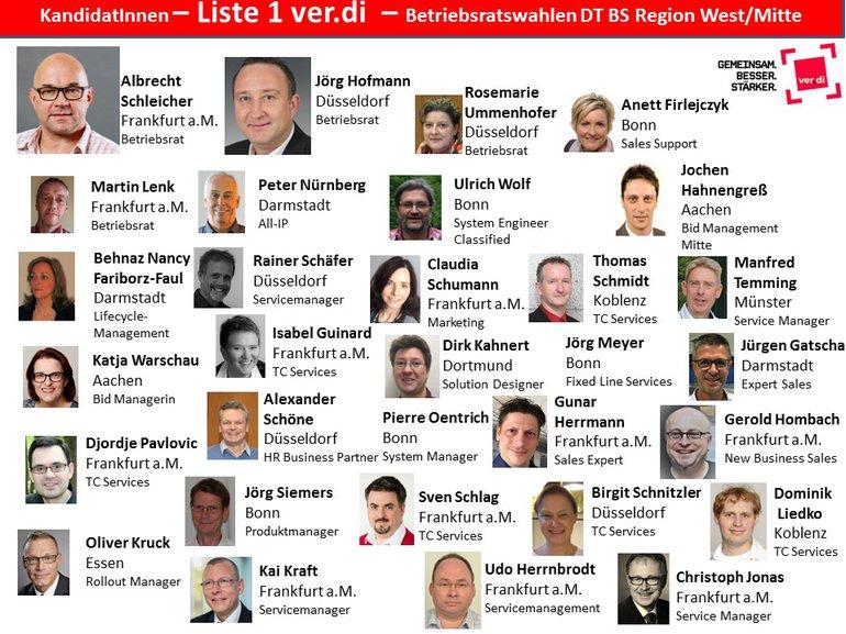 Unsere Kandidatinnen und Kandidaten für dei Betriebsratswahl bei der DT BS West / MItte