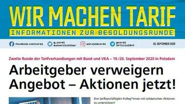 ver.di-Info Tarif- und Besolungsrunde ÖD 2020 - Arbeitgeber verweigern Angebot - Aktionen jetzt! - Teaserformat