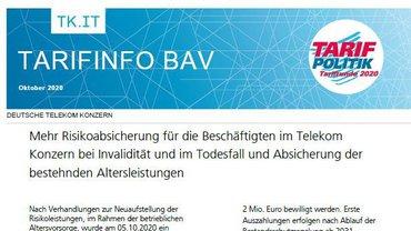 Tarifinfo BAV Telekom - Oktober 2020 - Teaserformat