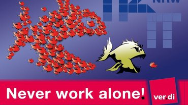 You never work alone - Logo für Bühne