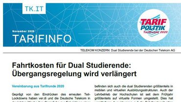 Tarifinfo 11 - Verhandlungen Fahrtkosten Dual Studierende Telekom - Teaserformat