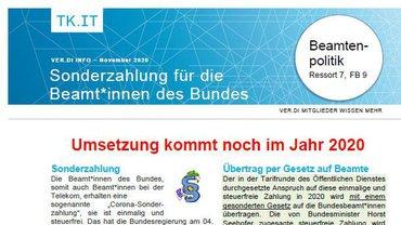 Flyer Sonderzahlung Beamte Telekom 2020 - Teaser